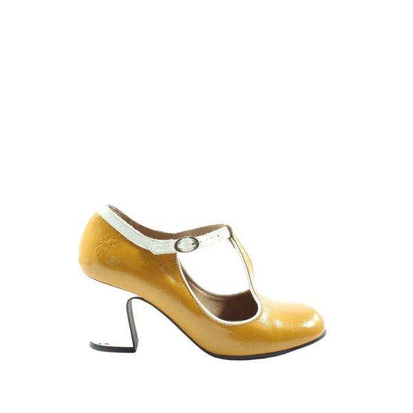 Fly london T-Steg-Sandaletten blassgelb-weiß Glanz-Optik