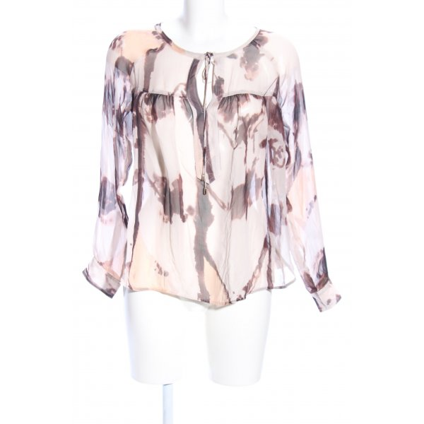 for friends only Transparenz-Bluse creme-braun abstraktes Muster Business-Look