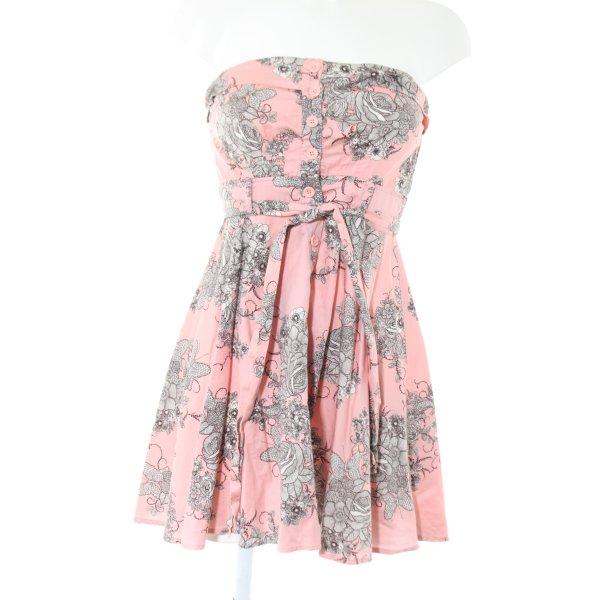 Forever 21 Bandeaukleid pink-hellgrau Allover-Druck Elegant