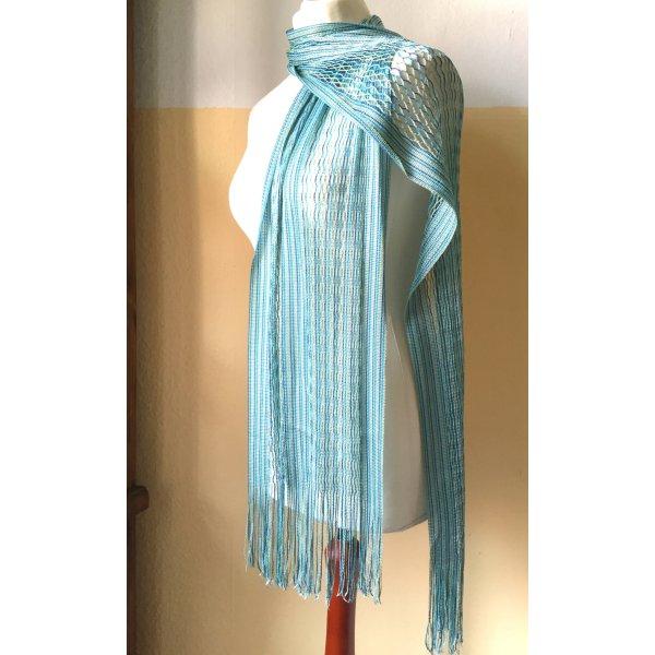 Fransen-Schal in sommerlichen Aquatönen