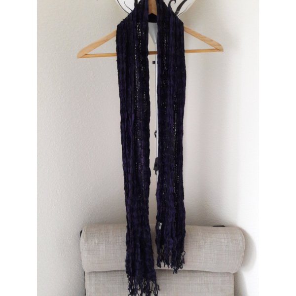 Fransenschal in schwarz/violett