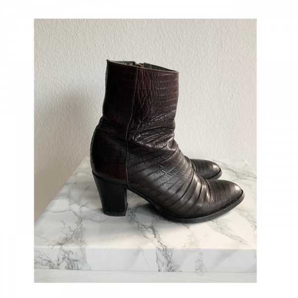 Fred de la Bretoniere Stiefelette Stiefel braun dunkelbraun Leder Lederboots Boots Größe 41