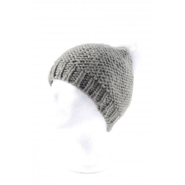 French Connection Cappello a maglia verde oliva-bianco sporco pompon
