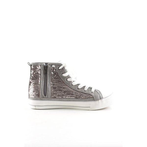 Fritzi aus preußen Lace Shoes silver-colored-white wet-look