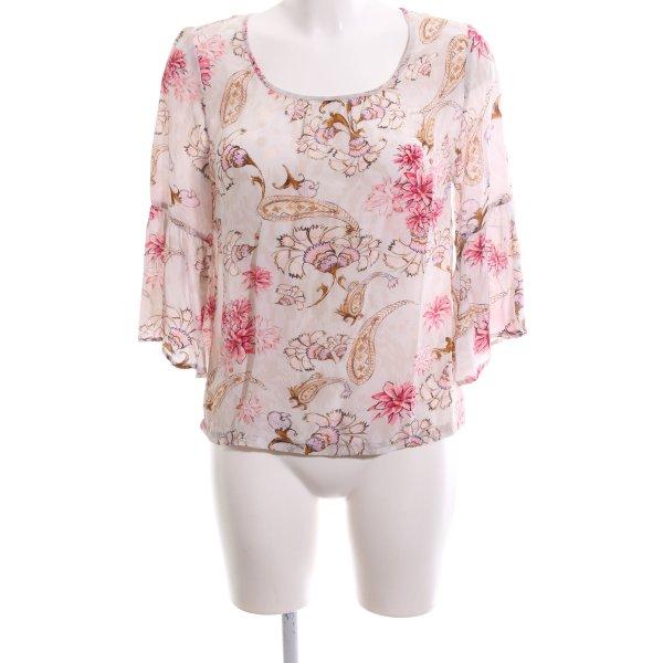 Frogbox Schlupf-Bluse creme-pink Blumenmuster Elegant