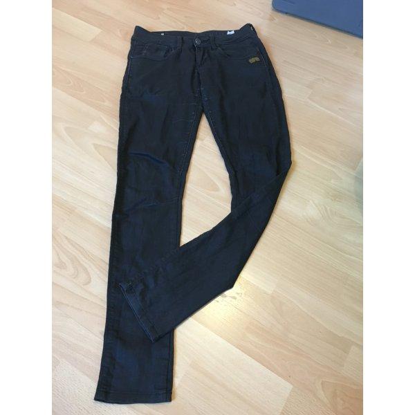 G-Star Hose Jeans Röhrenjeans schwarz Lederlook W 27 L 32 S 36 38