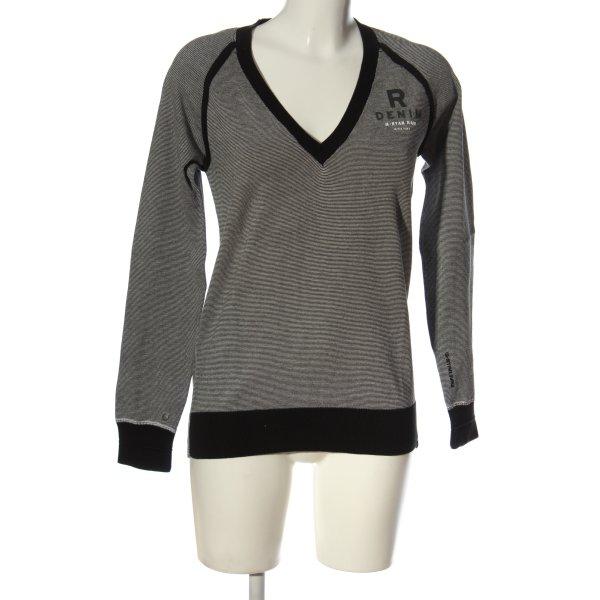 G-Star V-Ausschnitt-Pullover weiß-schwarz Schriftzug gedruckt Casual-Look