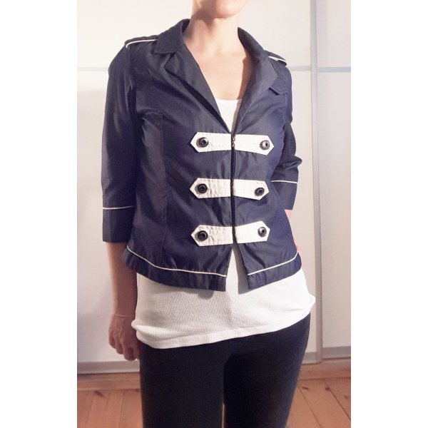 G-Star Women Zirkusjacke, Band-Jacket, Gardejacke, Offiziersjacke,  Kurz Jacke Gr. M Blau Weiß
