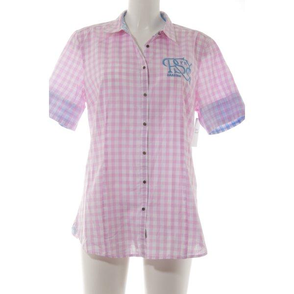 Gaastra Kurzarm-Bluse rosa-creme Karomuster Casual-Look