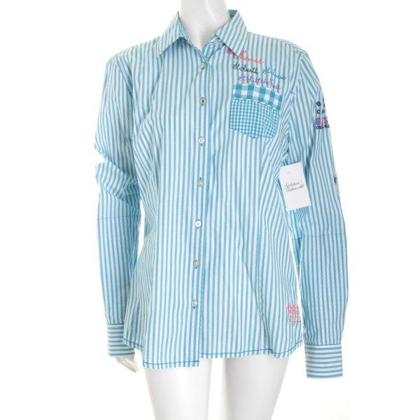 Gaastra Langarm-Bluse hellblau-weiß Streifenmuster Casual-Look