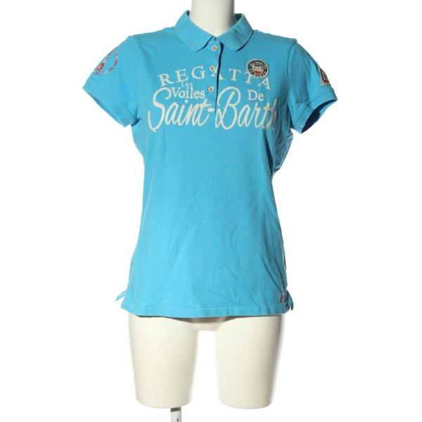 Gaastra Polo-Shirt blau-wollweiß Schriftzug gedruckt Casual-Look