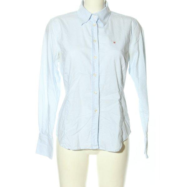 Gant Langarmhemd weiß-blau Allover-Druck Business-Look