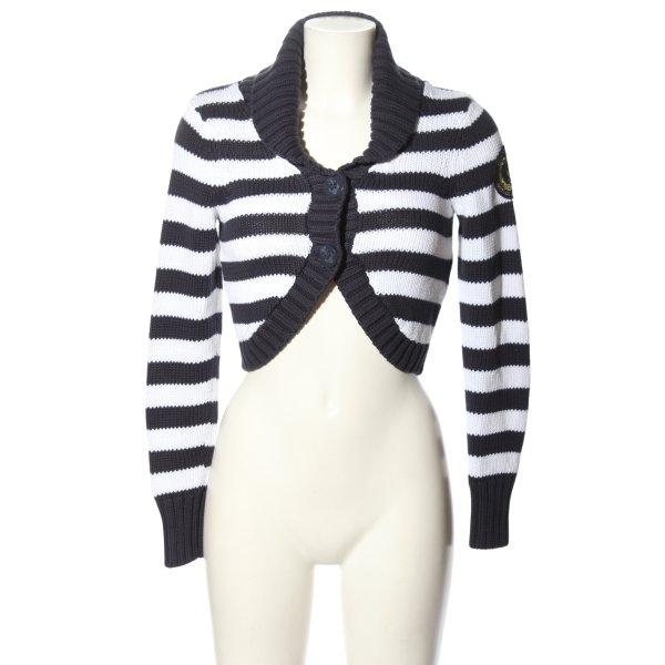 Gant Strickjacke schwarz-weiß Streifenmuster Casual-Look