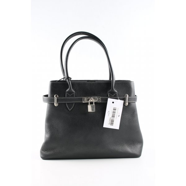 Genuine Leather Henkeltasche schwarz Business-Look