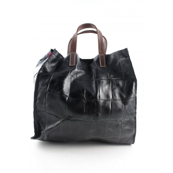 Genuine Leather Shopper schwarz Steppmuster Casual-Look