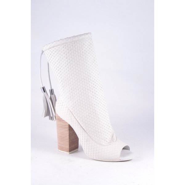 Geox Peeptoe Pumps creme Reptil-Optik