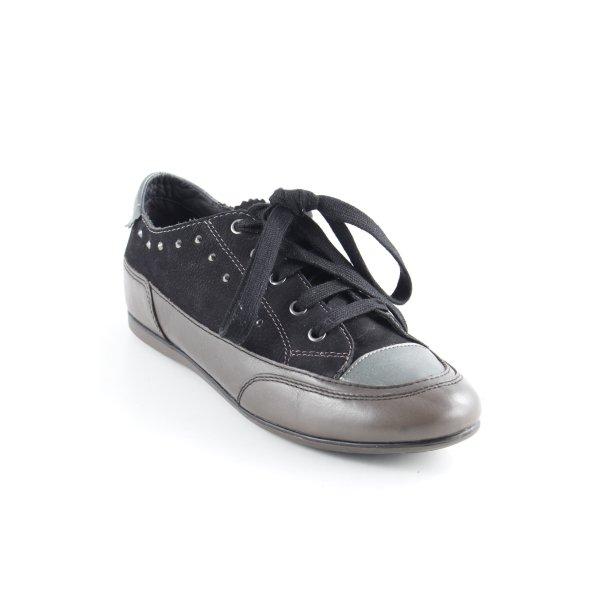 Geox Respira Schnürsneaker schwarz-taupe sportlicher Stil