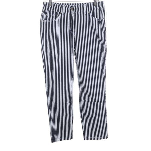 Gerry Weber Pantalone elasticizzato nero-bianco motivo a righe stile casual