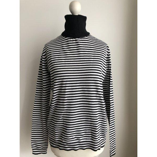 Gestreifter Rollkragen Pullover | Schwarz Weiß