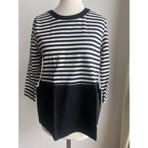 Gestreiftes Shirt mit Taschen   Schwarz Weiß