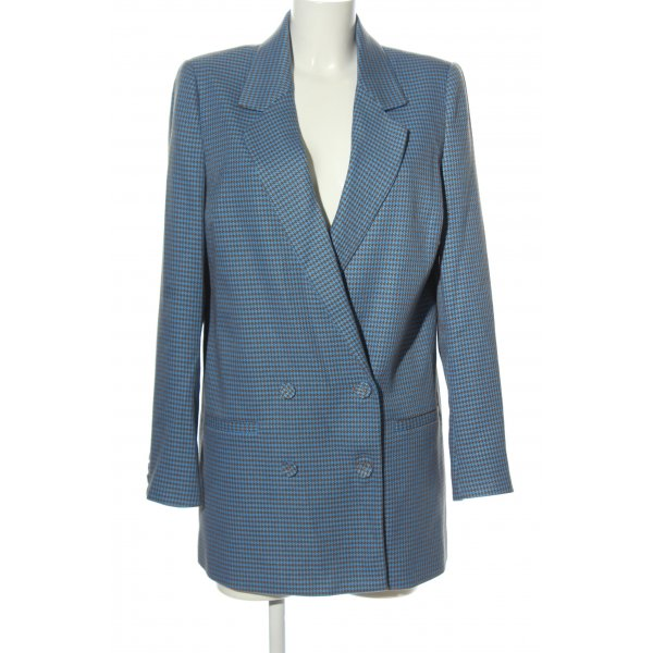 Gestuz Long-Blazer blau-braun Karomuster Casual-Look