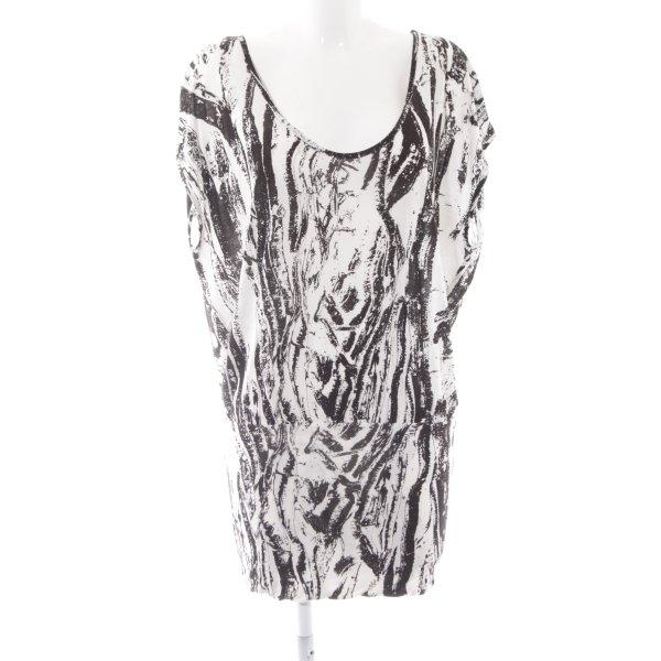 Gestuz Shirttunika wollweiß-schwarz Allover-Druck schlichter Stil