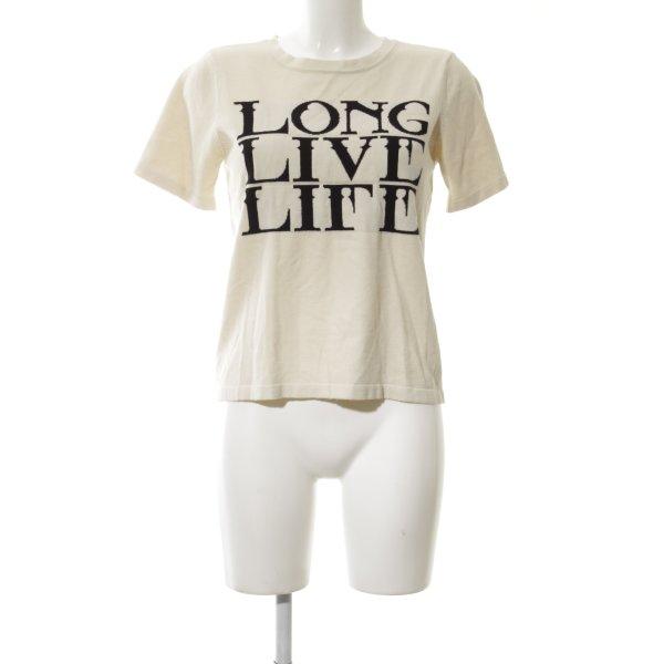Gestuz T-Shirt creme-schwarz schlichter Stil