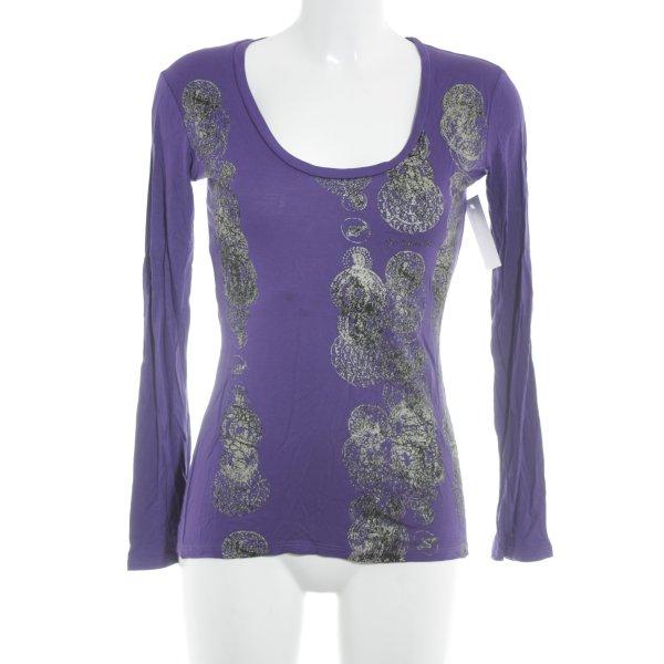 GF Ferré Print-Shirt dunkelviolett abstrakter Druck Casual-Look