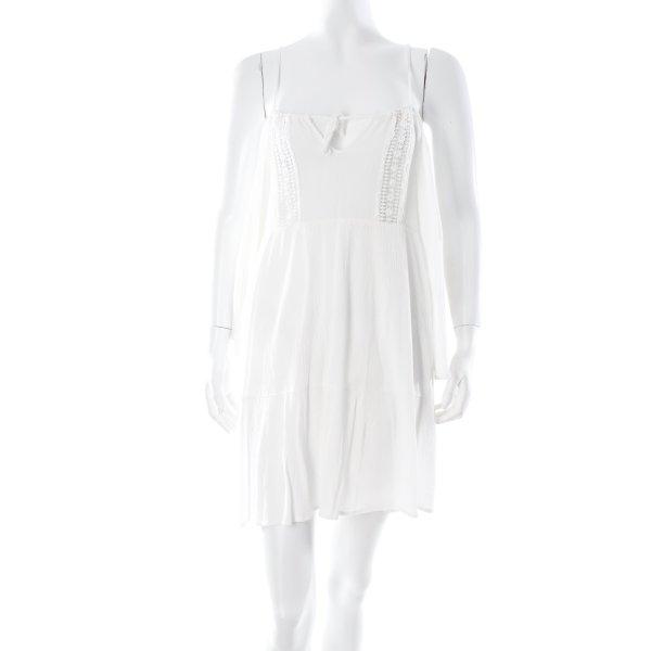Glamorous schulterfreies Kleid weiß Häkel-Detail