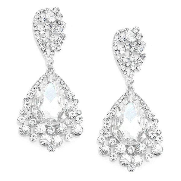Glamour Abendschmuck Cocktail Ball Hochzeit Lange Silber Ohrringe Earrings Kristall Klar Transparent 8,3 cm lang