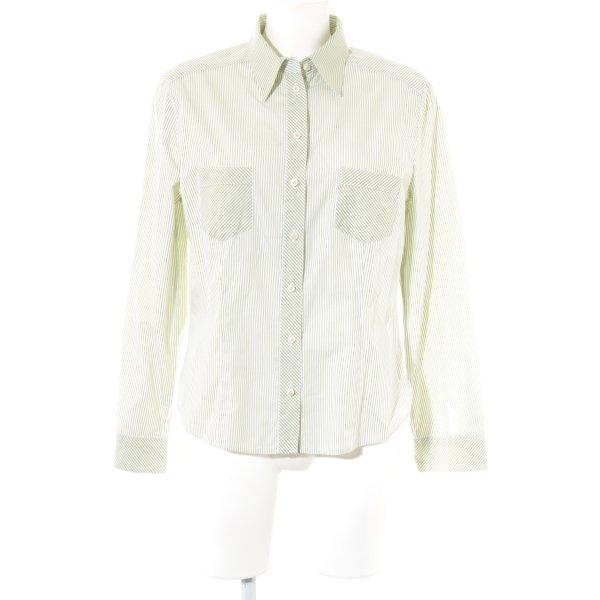 gössl Camisa folclórica verde hierba-blanco estampado a rayas estilo clásico