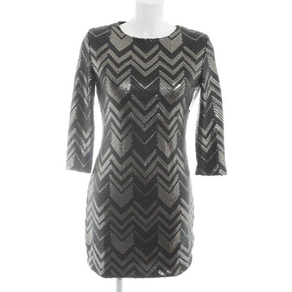 Goldie Abito con paillettes nero-argento motivo a zig-zag stile festa