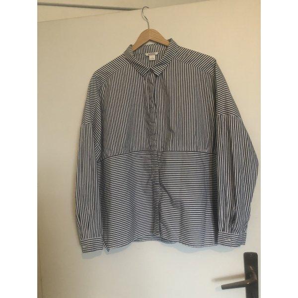 Grau-weiß Gestreifte Bluse von Monki Größe L