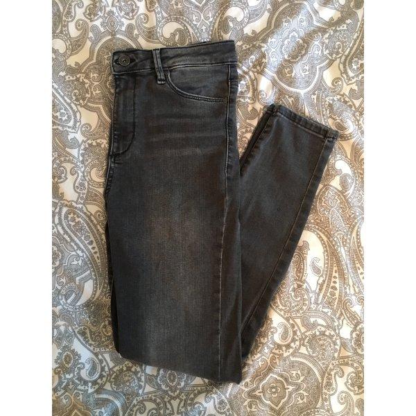 Graue High-Waist Skinny-Jeans