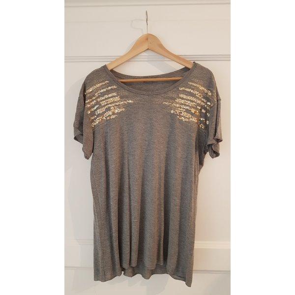 Graues T-Shirt, goldene Pailletten, oversized