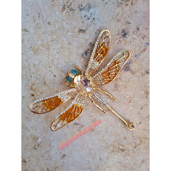 Große Brosche Libelle goldfarben mit Strass Glitzer Steinchen