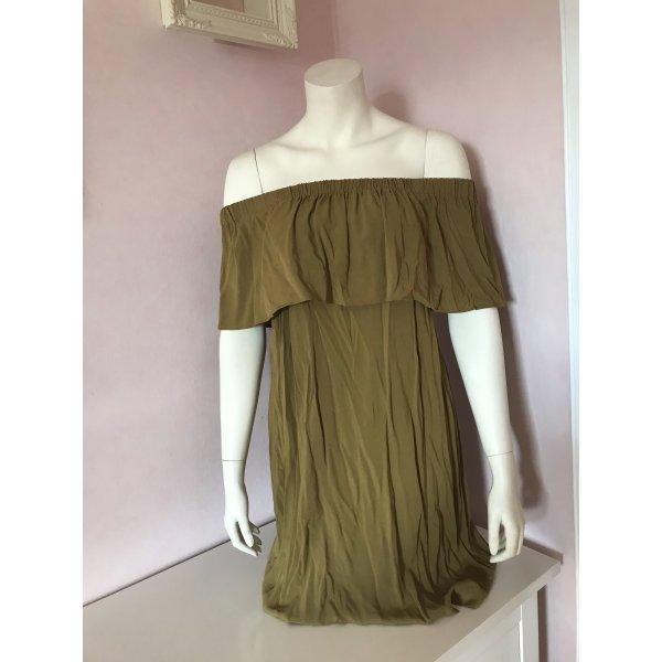 Grünes Off Shoulder Kleid mit Volant von H&M