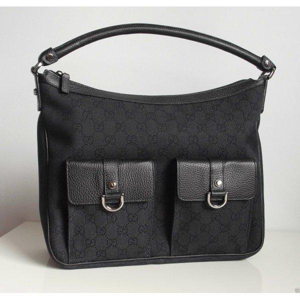 gucci damen tasche handbag aus original gg canvas lederdetails schwarz neu m dchenflohmarkt. Black Bedroom Furniture Sets. Home Design Ideas