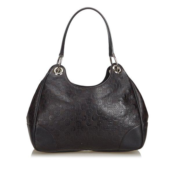 Gucci Embossed Leather Horsebit Hobo Bag