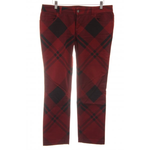Gucci Five-Pocket-Hose rot-schwarz Karomuster Casual-Look