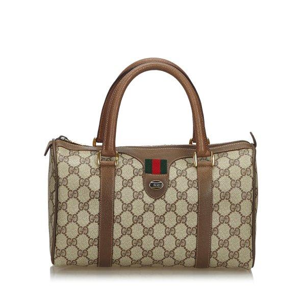Gucci GG Supreme Web Boston Bag