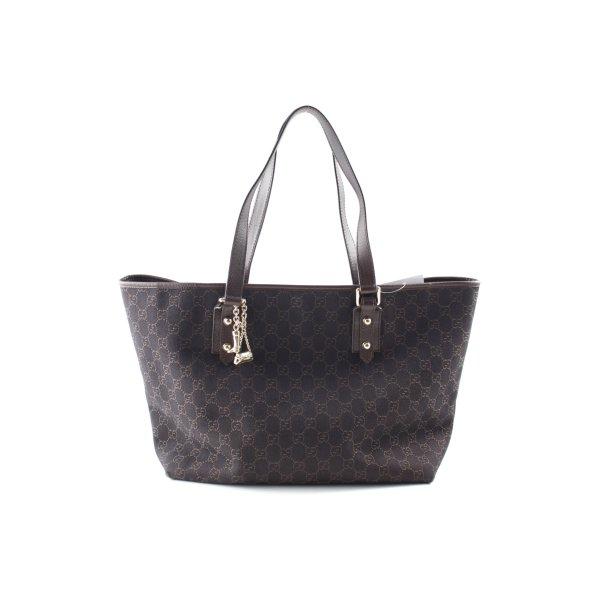 Gucci Handtasche dunkelbraun-braun Monogram-Muster Elegant