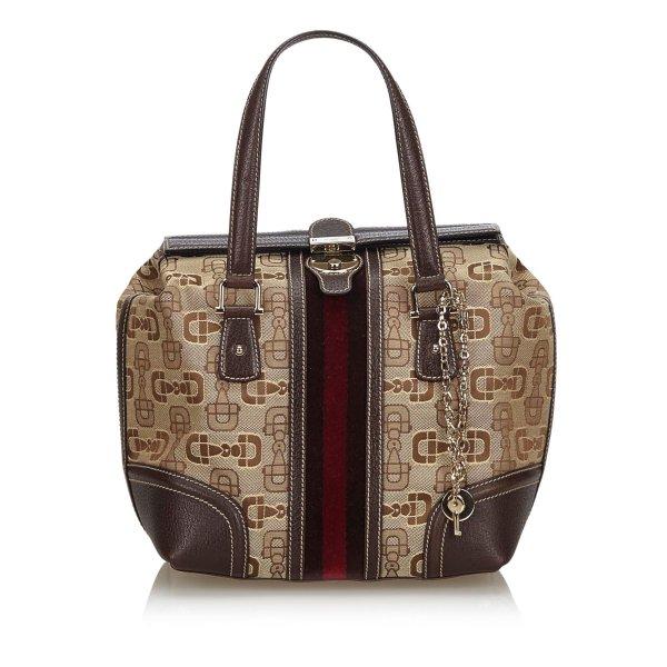 Gucci Horsebit Canvas Web Treasure Handbag
