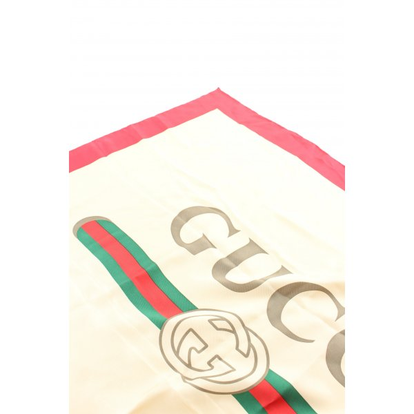 Gucci Seidentuch blassgelb-rot Motivdruck Business-Look