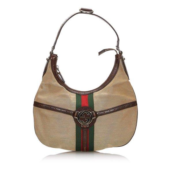 Gucci Web Canvas Reins Hobo Bag
