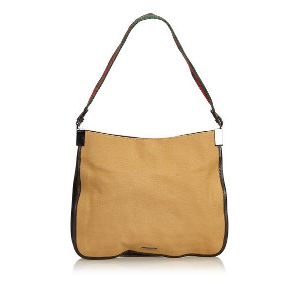 Gucci Web Canvas Shoulder Bag