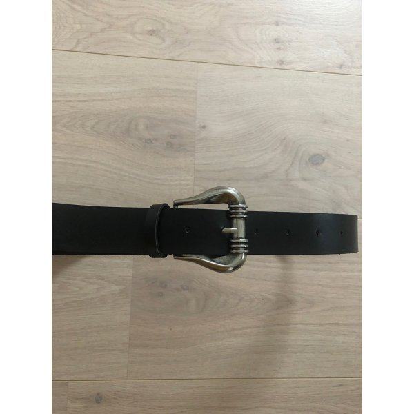 no name Faux Leather Belt black-silver-colored
