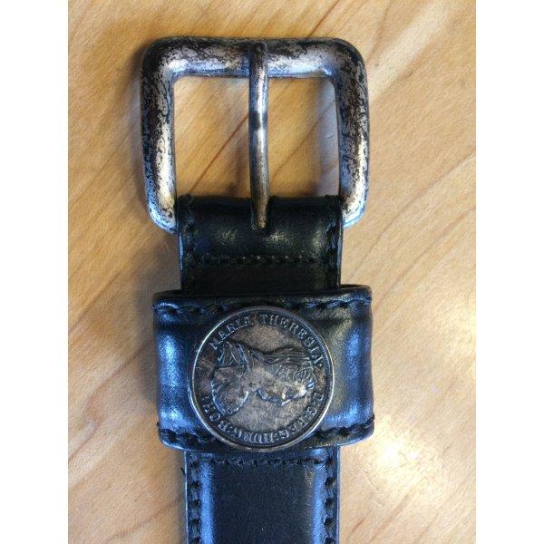 Gürtel Echtleder mit Münz-Applikationen schwarz 80 cm