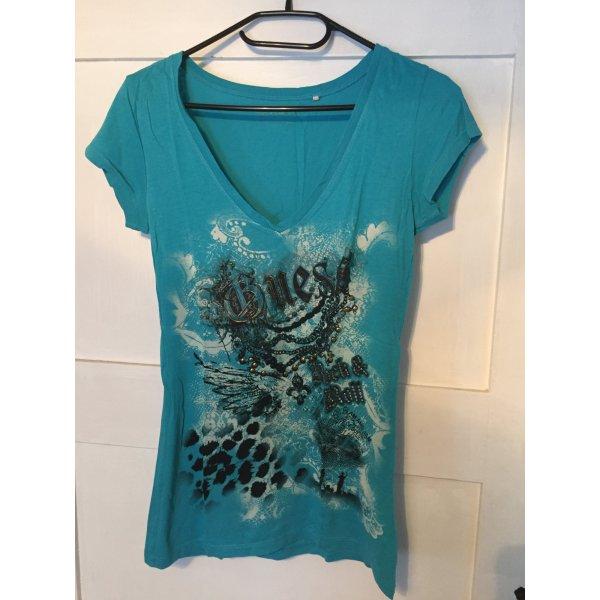Guess Camiseta estampada azul claro