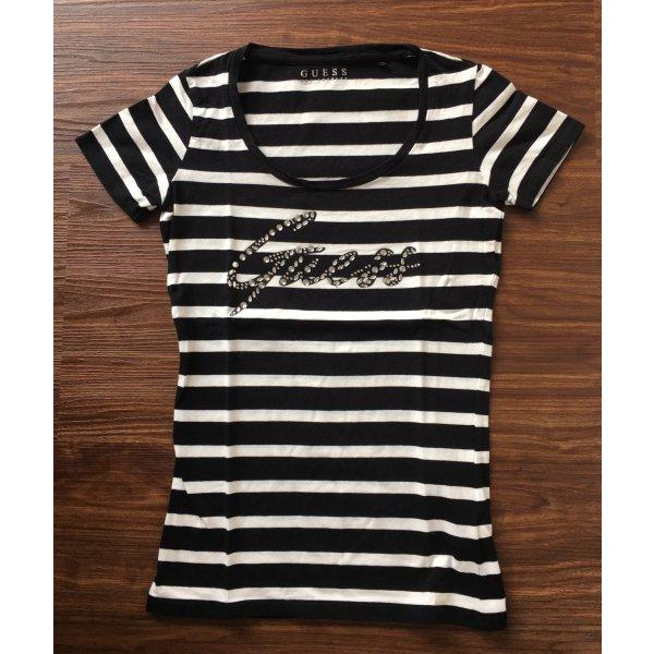 Guess Camisa de rayas blanco-negro tejido mezclado